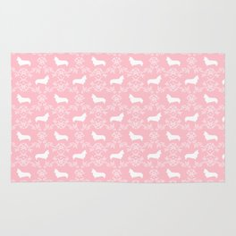 Corgi silhouette florals dog pattern pink and white minimal corgis welsh corgi pattern Rug