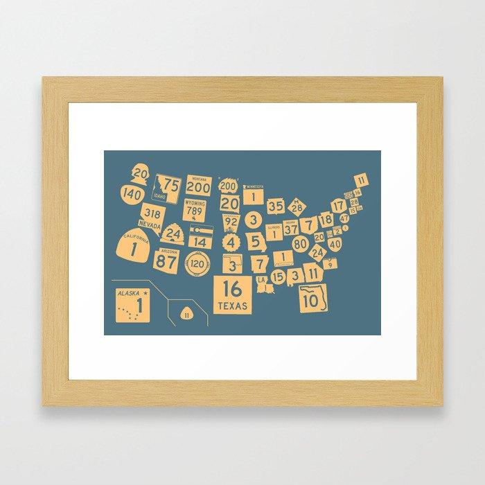 United State Highways of America - Slate Blue Framed Art Print