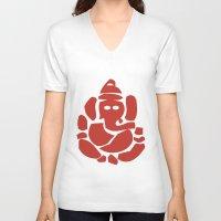 hindu V-neck T-shirts featuring Ganesh - Hindu God by ialbert