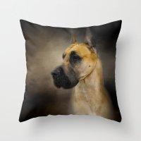 great dane Throw Pillows featuring Dashing Great Dane by Jai Johnson