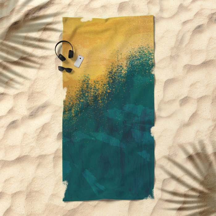 Gold Rush Peacock Beach Towel