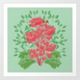 Symmetrical Flowers Red and Green Art Print
