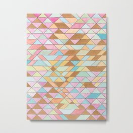 Triangle Pattern No. 25 Gold Pink Turqouise Metal Print
