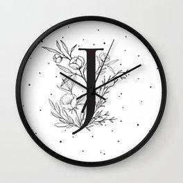 Black Letter J Monogram / Initial Botanical Illustration Wall Clock