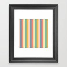 Retro Stripes Gold Blue Green Red Framed Art Print