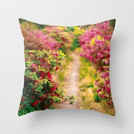 Footpath with azaleas Throw Pillow