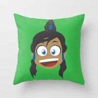 legend of korra Throw Pillows featuring Korra by tukylampkin