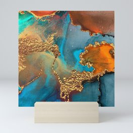 Abstract Blue And Gold Autumn Marble Mini Art Print