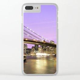 Brooklyn Bridge at night. New York Clear iPhone Case