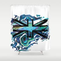 union jack Shower Curtains featuring Union Jack by Boz Designs