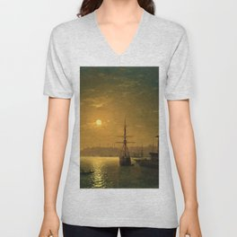 Constantinople (Istanbul) by Moonlight by Ivan Aivazovsky Unisex V-Neck