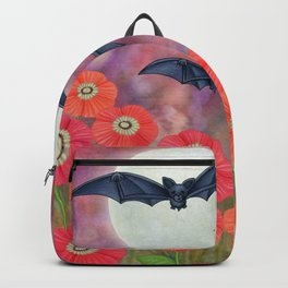 moonlit black bats and poppies Backpack
