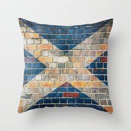 Scotland flag on a brick wall Throw Pillow