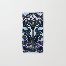 Blue and Green Glowing Art Nouveau Stain Glass Design Hand & Bath Towel