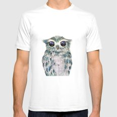 Little Owl MEDIUM White Mens Fitted Tee