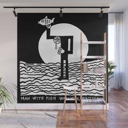 Man with Fish Watching, Waiting... Wall Mural