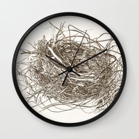 the wire Wall Clocks featuring Wire Nest by Sam Pash
