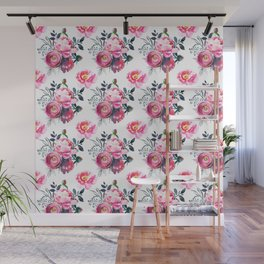 Hand painted blush pink gray yellow watercolor roses pattern Wall Mural