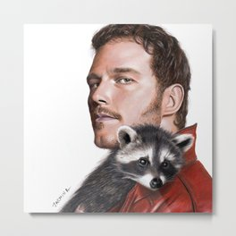 Drawing of Star-Lord and Baby Raccoon Metal Print