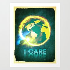 I Care / Blue Art Print