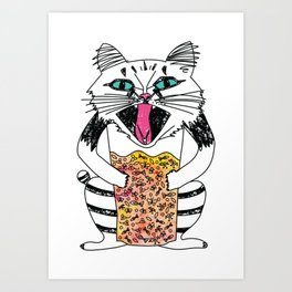 Emotional Cat. Graphic Joy. Art Print