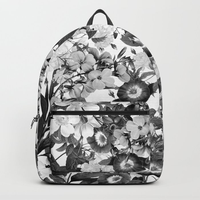 Night Garden Black and White Backpack