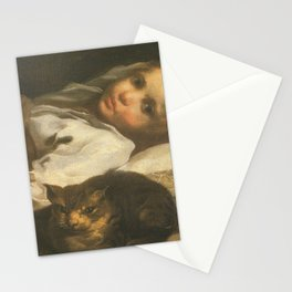 Cat in the art -Bernhardt keil – The cat and the girl Stationery Cards