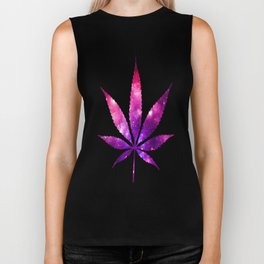 Weed : High Times fuchsia Pink Purple Galaxy Biker Tank