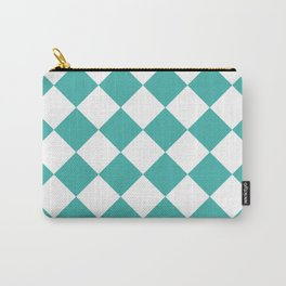 Large Diamonds - White and Verdigris Carry-All Pouch