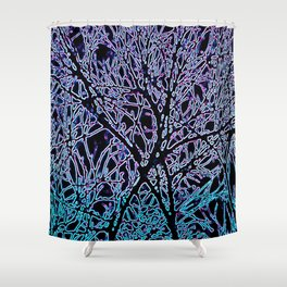 Tangled Tree Branches in Blue and Teal Shower Curtain