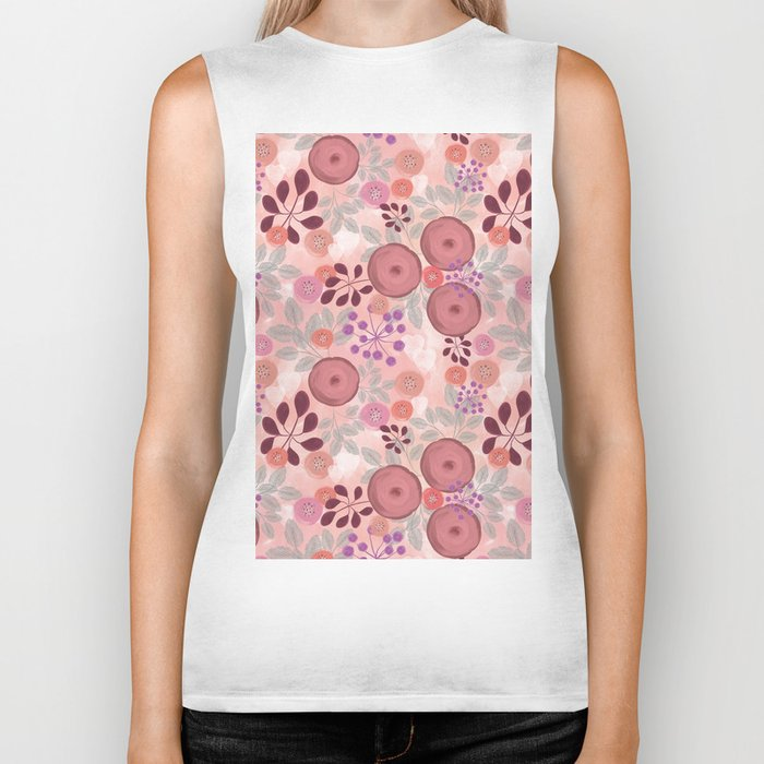 Abstract floral pattern. Biker Tank