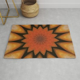 Solar // Mandala Rays Orange Yellow Golden Energy Chakra Healing Light Rug