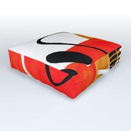 Mid Century Modern Abstract Vintage Pop Art Space Age Pattern Orange Yellow Black Orbit Accent Outdoor Floor Cushion
