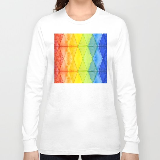 Geometrict Abstract Rainbow Watercolor Pattern Long Sleeve T-shirt