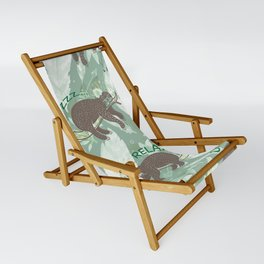 Lazy Boho Sloth On green Background Sling Chair