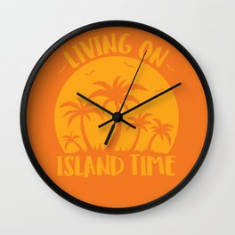 Living On Island Time Palm Trees And Sunset Wall Clock