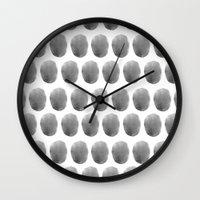 polkadot Wall Clocks featuring Watercolour polkadot black by studio groenling