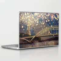 lanterns Laptop & iPad Skins featuring Love Wish Lanterns over Paris by Paula Belle Flores