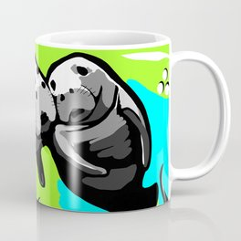 MANATEE LOVE in Blue Green Underwater Coffee Mug