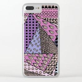 simple purple doodles Clear iPhone Case