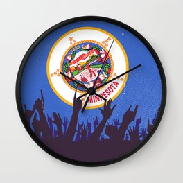Minnesota State Flag with Audience Wall Clock
