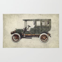 Vintage retro car hatching hand drawing. Green antique automobile over hatched background. Rug