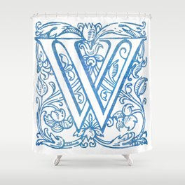Letter W Elegant Vintage Floral Letterpress Monogram Shower Curtain