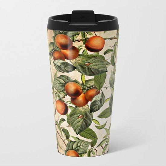 Vintage Fruit Pattern Metal Travel Mug