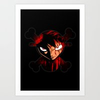 luffy Art Prints featuring BLOODY LUFFY by feimyconcepts05