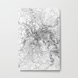 Pittsburgh White Map Metal Print
