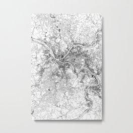 Pittsburgh White Map Metal Print