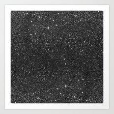 Modern chic elegant trendy faux black glitter Art Print
