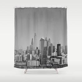 Black and White Philadelphia Skyline Shower Curtain