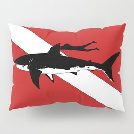 DIVER DOWN - great white shark dive Pillow Sham